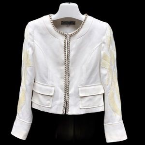 Guess Cream w/Silver Chains & Sequins Crop Jacket